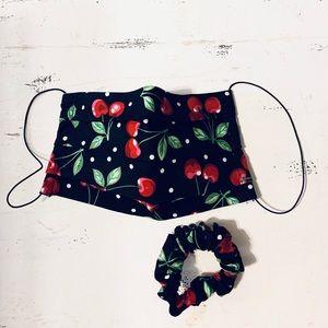 Vintage Retro Cherry Print Face Mask Scrunchie Set